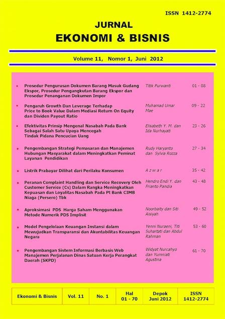 Cover Ekonomi Bisnis Vol 11, No 1, Juni 2012